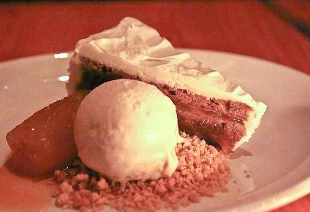 Bananas Foster Cake with cream cheese frosting and bourbon ice cream