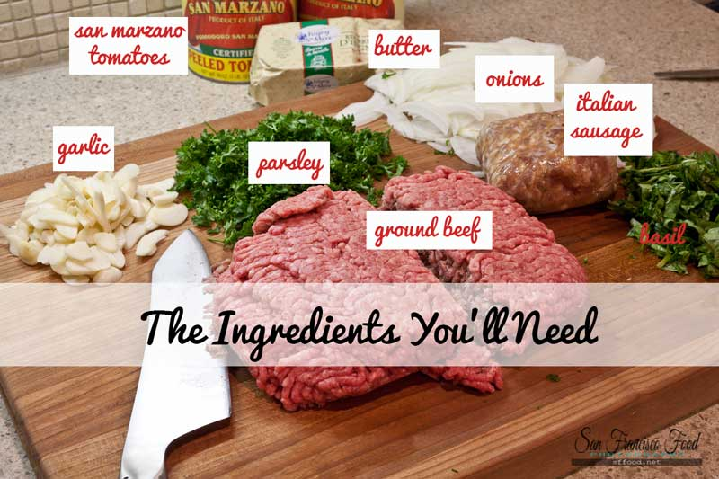 Ingredients for Meat Sauce Recipe