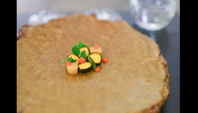 Cheese course: mimolette covered in quince ash, with apple habanero / Photo Credit: Ulterior Epicure