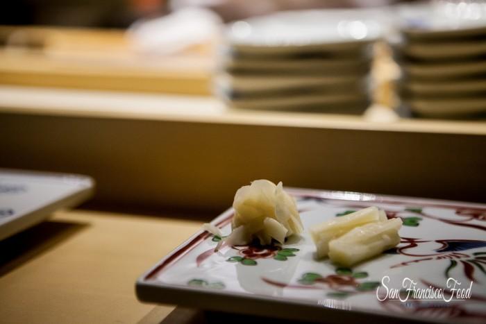 Two kinds of ginger at Omakase -- fresh baby ginger and pickled ginger
